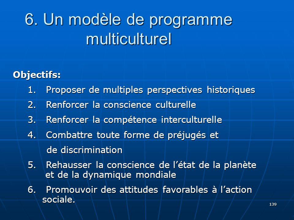 139 6.Un modèle de programme multiculturel Objectifs: 1.