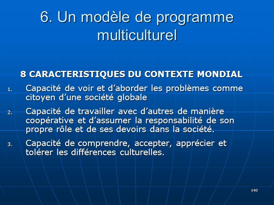 140 6.Un modèle de programme multiculturel 8 CARACTERISTIQUES DU CONTEXTE MONDIAL 1.