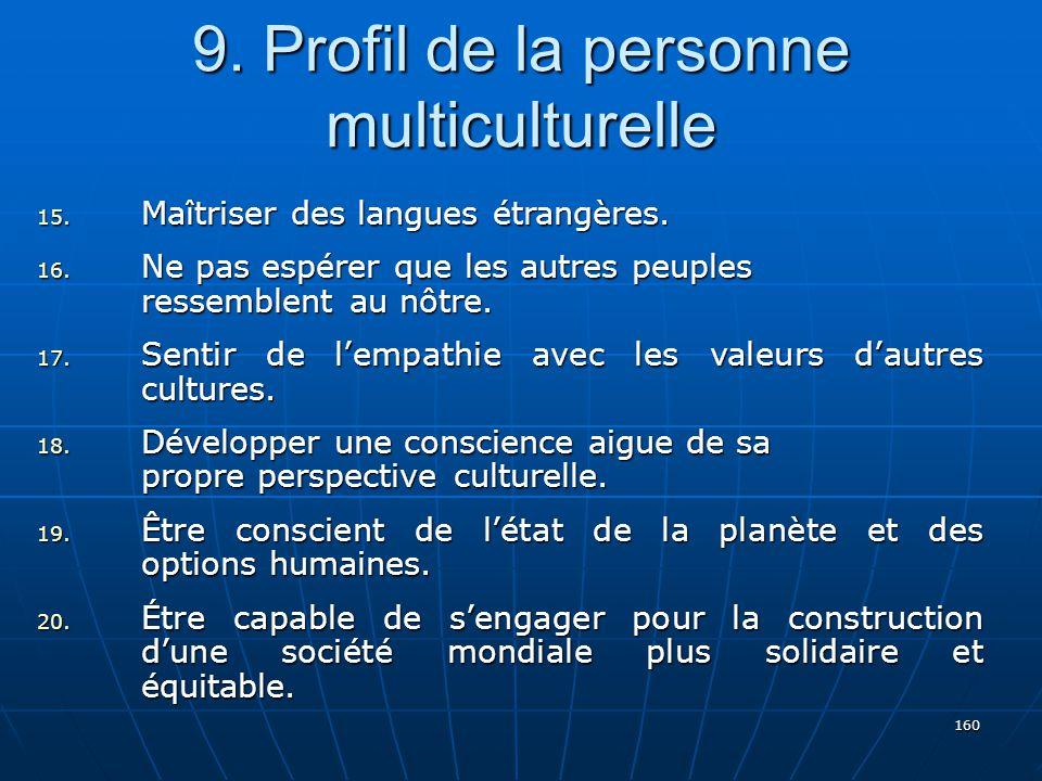 160 9.Profil de la personne multiculturelle 15. Maîtriser des langues étrangères.