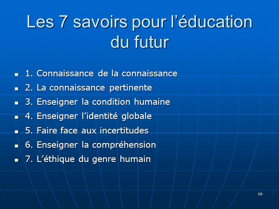 29 Les 7 savoirs pour léducation du futur 1.Connaissance de la connaissance 1.