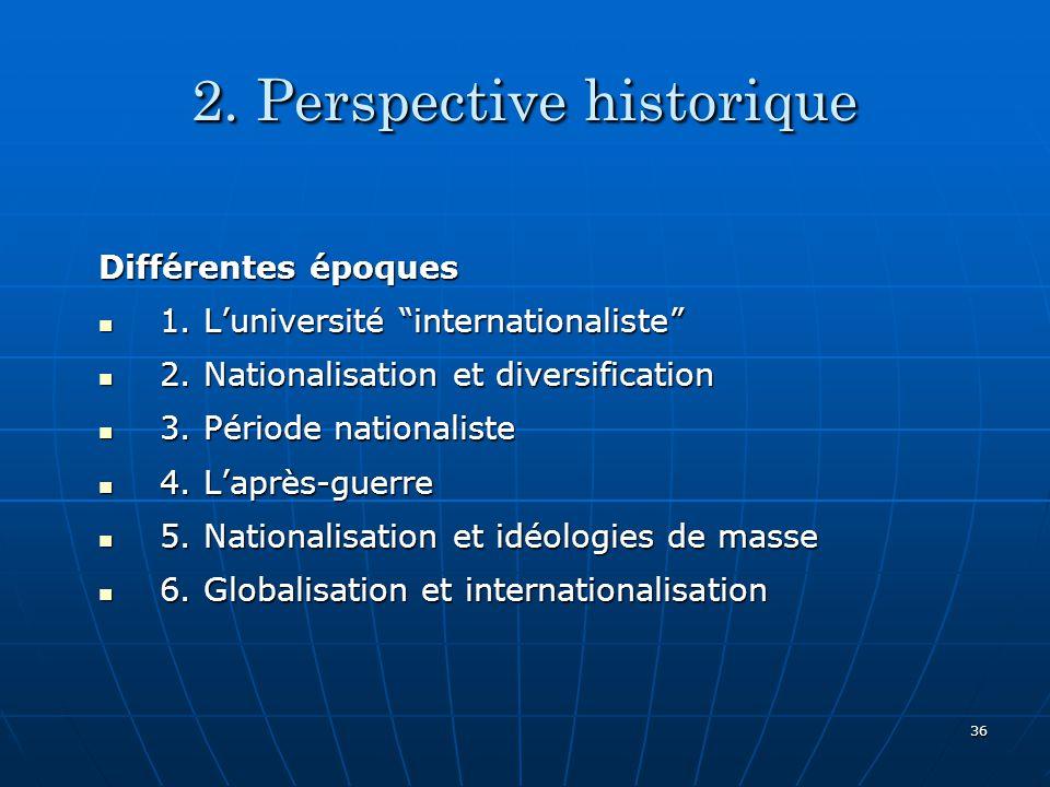 36 2.Perspective historique Différentes époques 1.