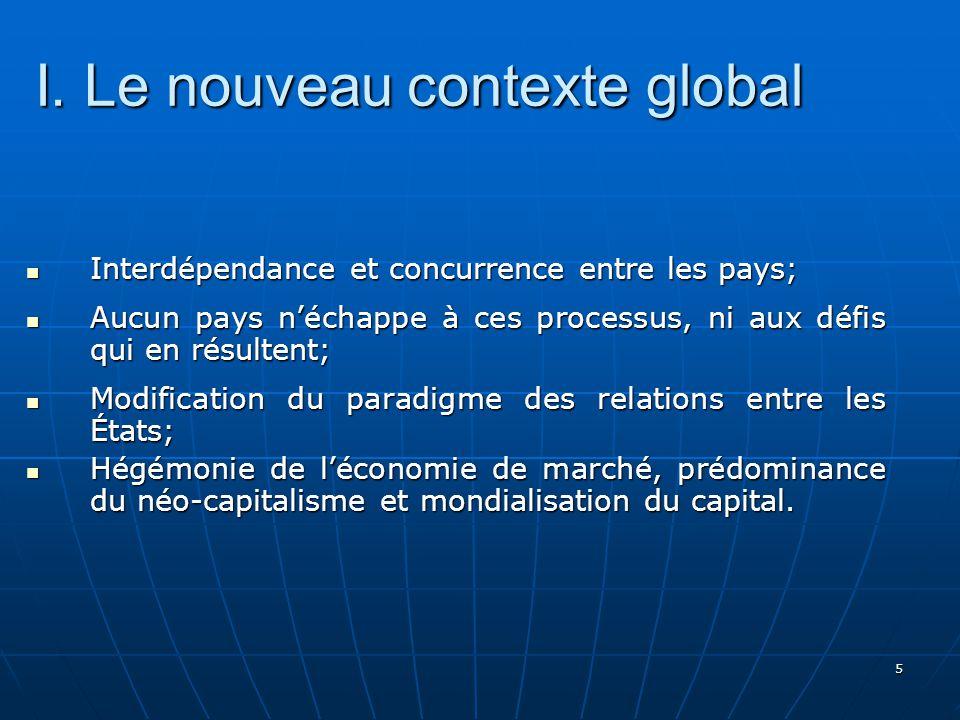5 I. Le nouveau contexte global Interdépendance et concurrence entre les pays; Interdépendance et concurrence entre les pays; Aucun pays néchappe à ce