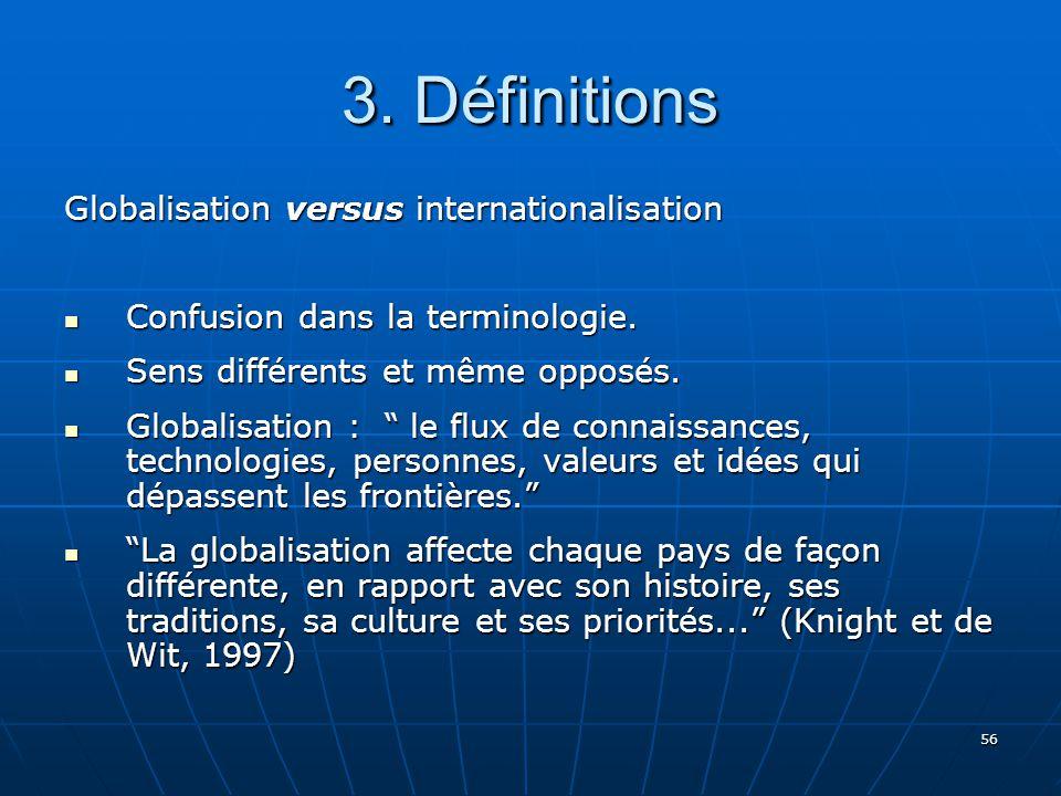 56 3.Définitions Globalisation versus internationalisation Confusion dans la terminologie.