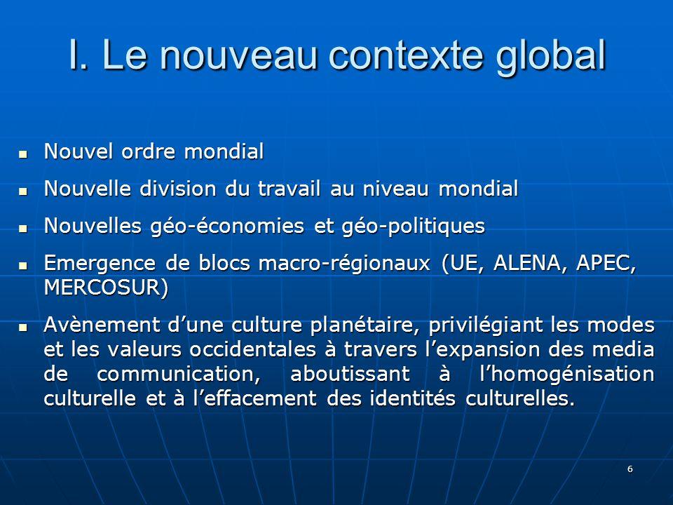 6 I. Le nouveau contexte global Nouvel ordre mondial Nouvel ordre mondial Nouvelle division du travail au niveau mondial Nouvelle division du travail