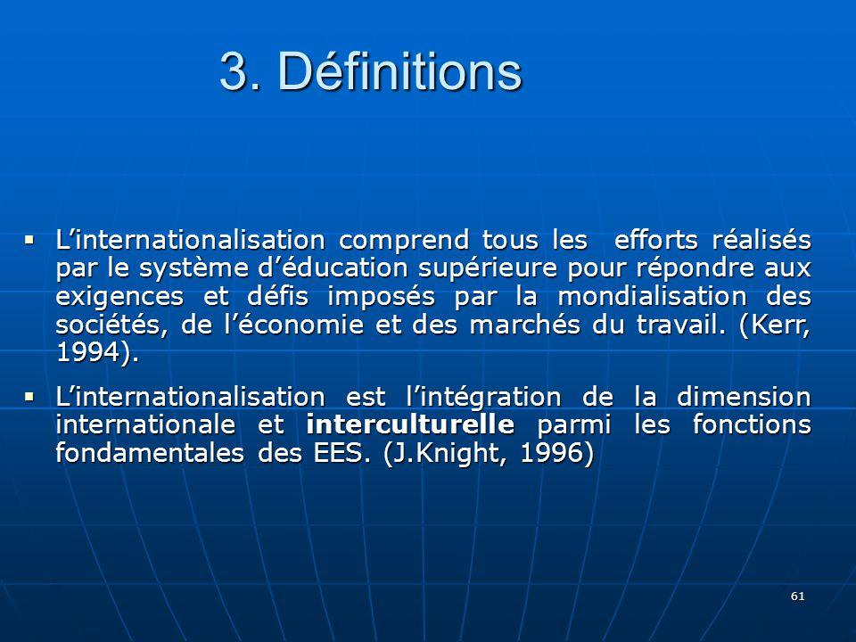 61 Linternationalisation comprend tous les efforts réalisés par le système déducation supérieure pour répondre aux exigences et défis imposés par la mondialisation des sociétés, de léconomie et des marchés du travail.