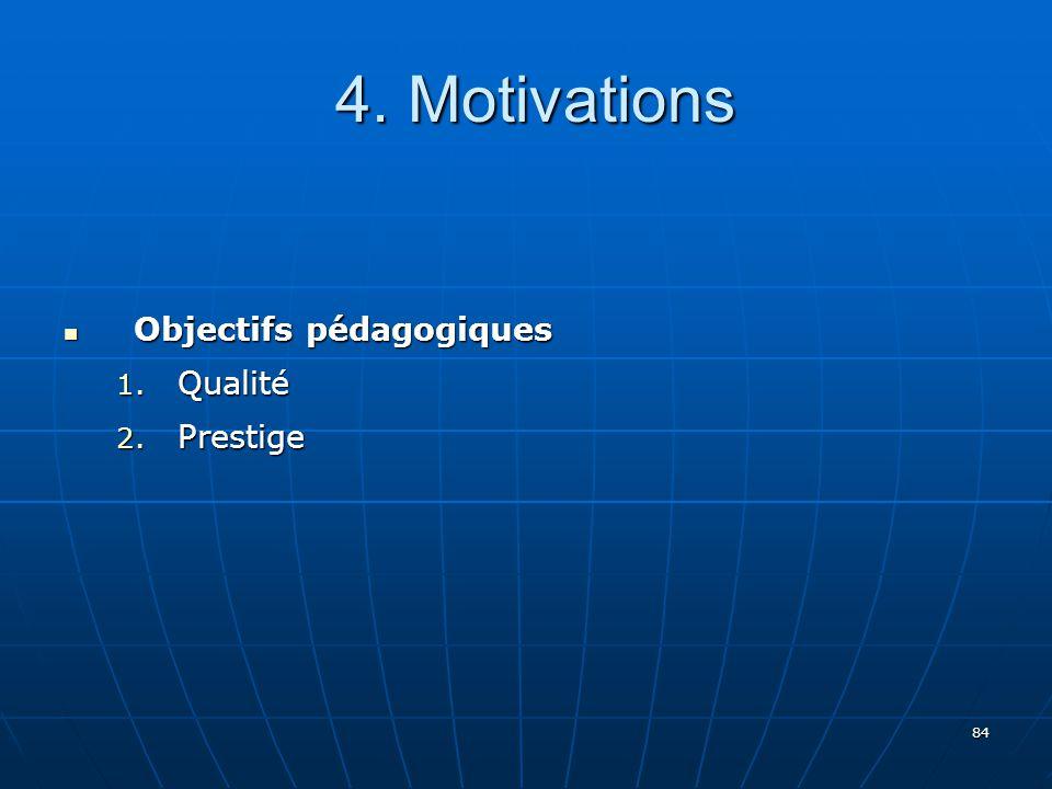 84 4.Motivations 4. Motivations Objectifs pédagogiques Objectifs pédagogiques 1.