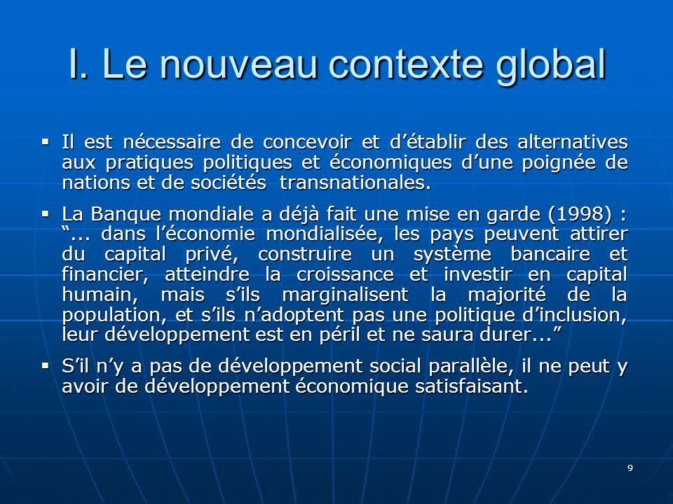 9 I. Le nouveau contexte global Il est nécessaire de concevoir et détablir des alternatives aux pratiques politiques et économiques dune poignée de na