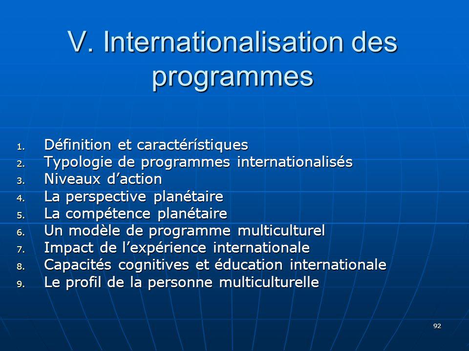 92 V.Internationalisation des programmes 1. Définition et caractérístiques 2.