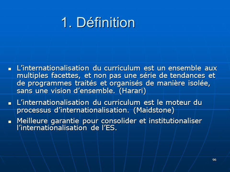 96 Linternationalisation du curriculum est un ensemble aux multiples facettes, et non pas une série de tendances et de programmes traités et organisés de manière isolée, sans une vision densemble.
