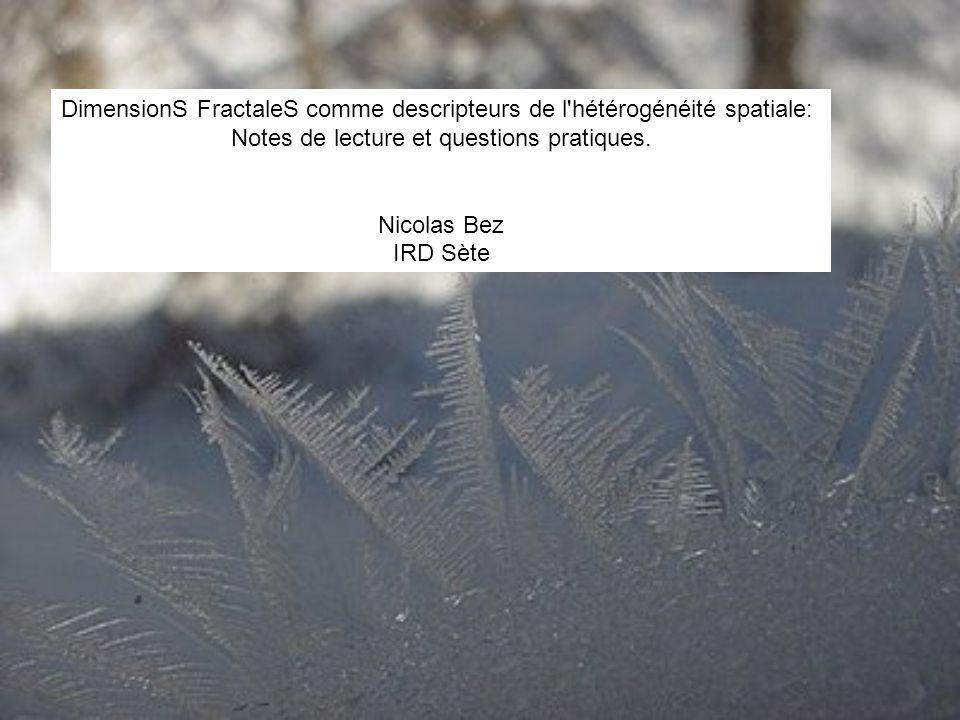 DimensionS FractaleS comme descripteurs de l'hétérogénéité spatiale: Notes de lecture et questions pratiques. Nicolas Bez IRD Sète