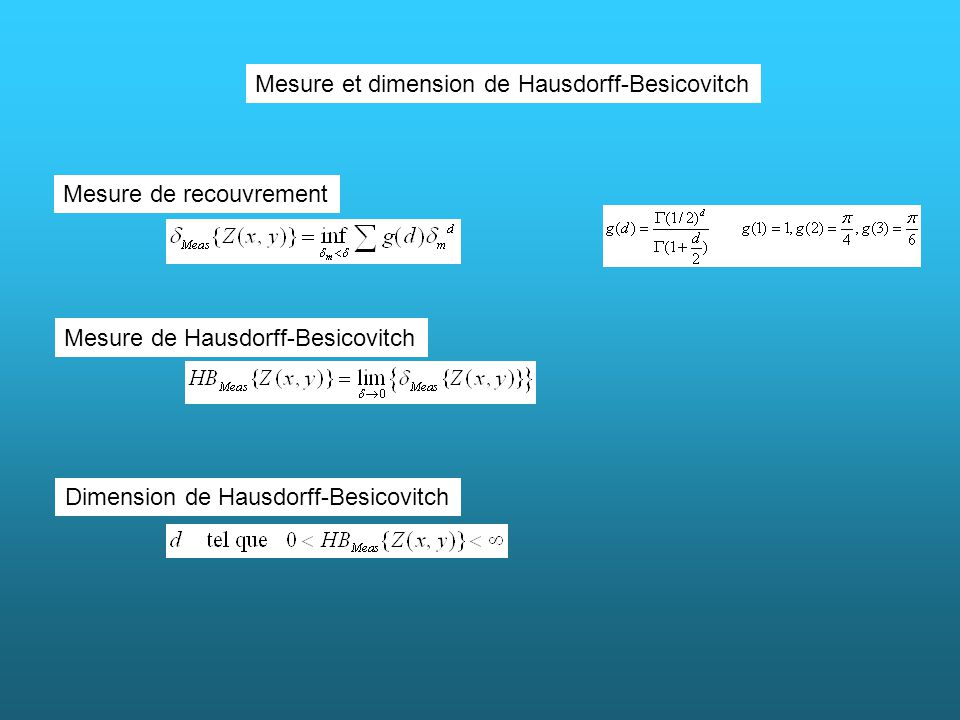Mesure et dimension de Hausdorff-Besicovitch Mesure de recouvrement Mesure de Hausdorff-Besicovitch Dimension de Hausdorff-Besicovitch