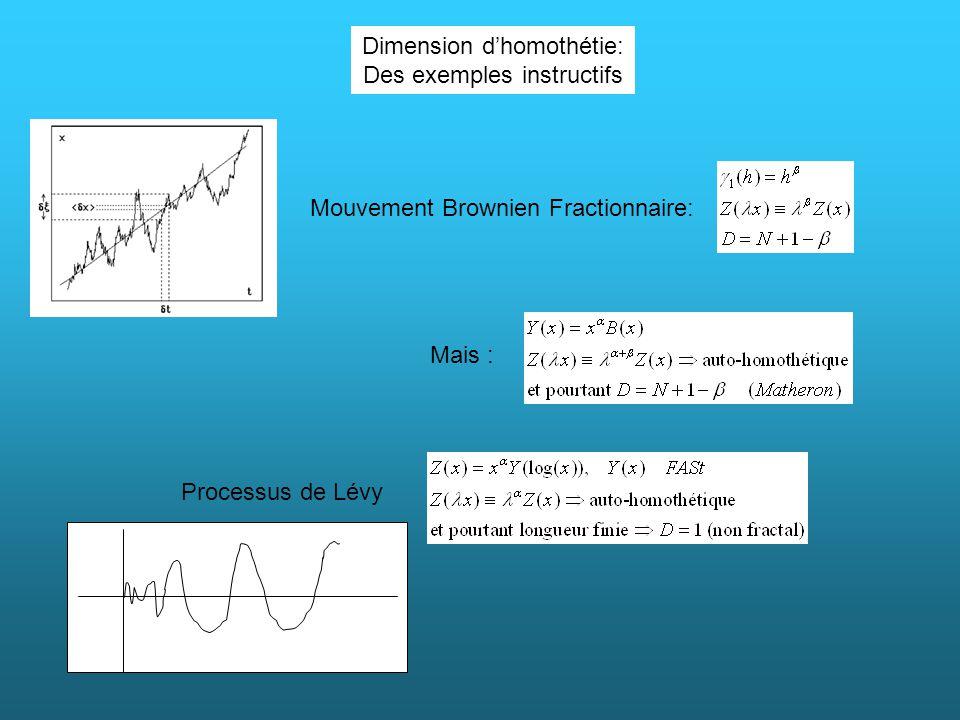 Dimension dhomothétie: Des exemples instructifs Mouvement Brownien Fractionnaire: Mais : Processus de Lévy