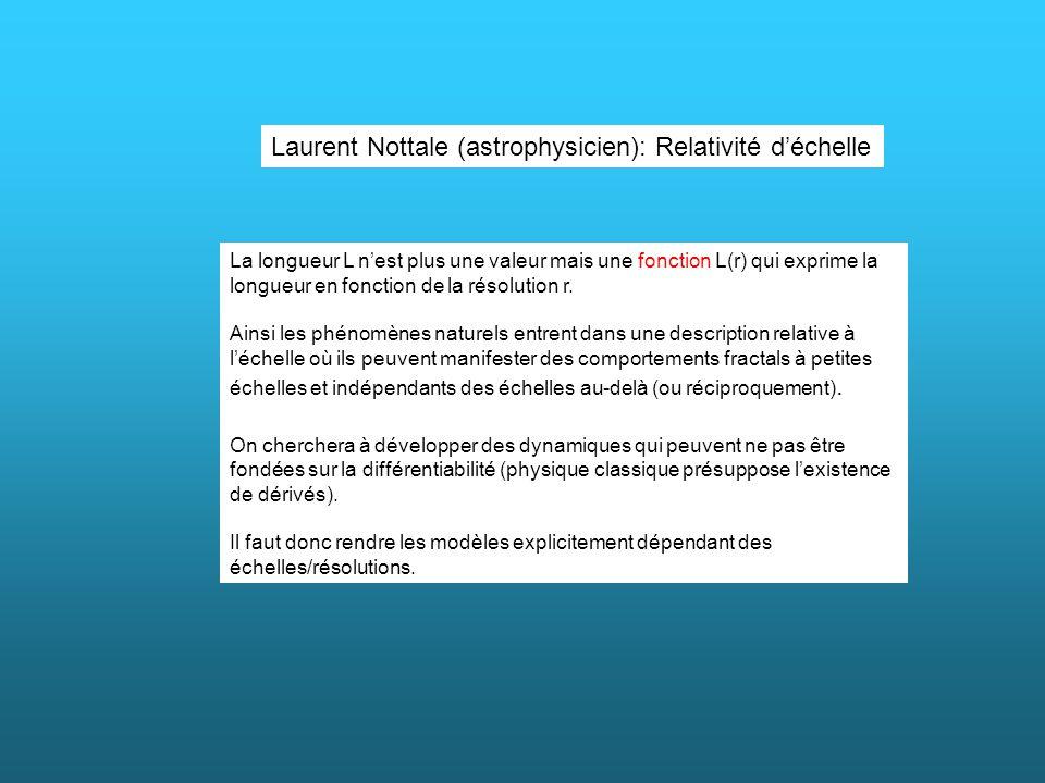 Laurent Nottale (astrophysicien): Relativité déchelle La longueur L nest plus une valeur mais une fonction L(r) qui exprime la longueur en fonction de