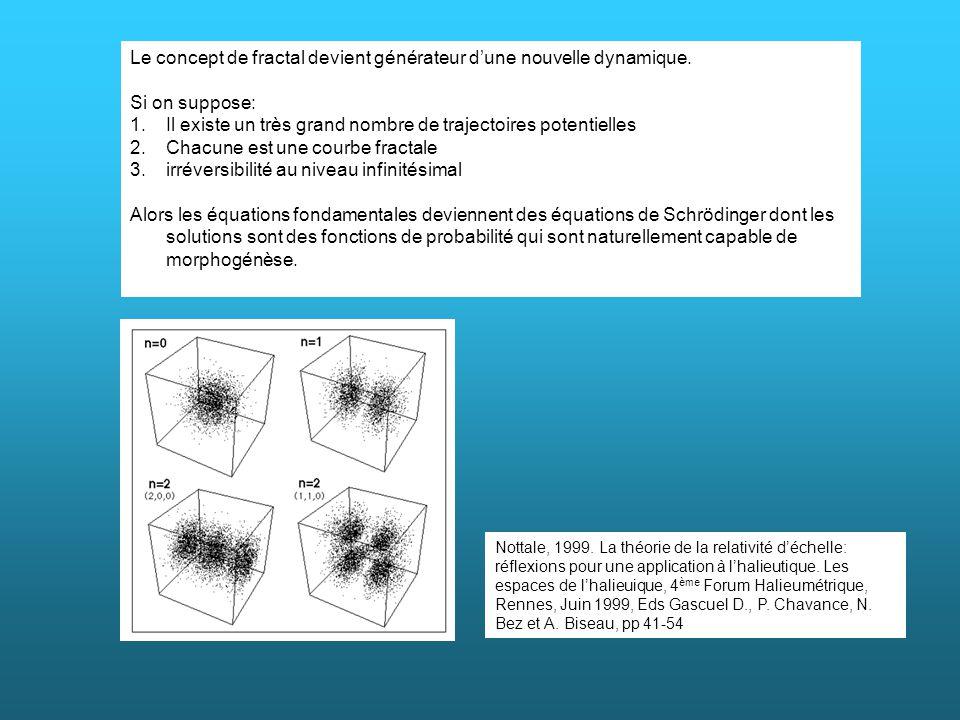 Le concept de fractal devient générateur dune nouvelle dynamique. Si on suppose: 1.Il existe un très grand nombre de trajectoires potentielles 2.Chacu