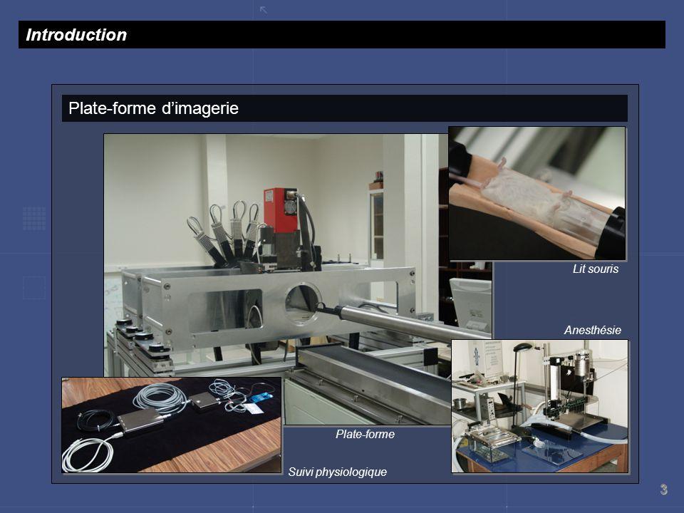 3 Plate-forme dimagerie Introduction Suivi physiologique Anesthésie Lit souris Plate-forme