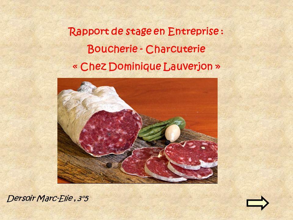 Rapport de stage en Entreprise : Boucherie - Charcuterie « Chez Dominique Lauverjon » Dersoir Marc-Elie, 3°5