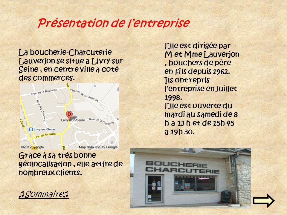 Présentation de lentreprise Sommaire La boucherie-Charcuterie Lauverjon se situe a Livry-sur- Seine, en centre ville a coté des commerces.