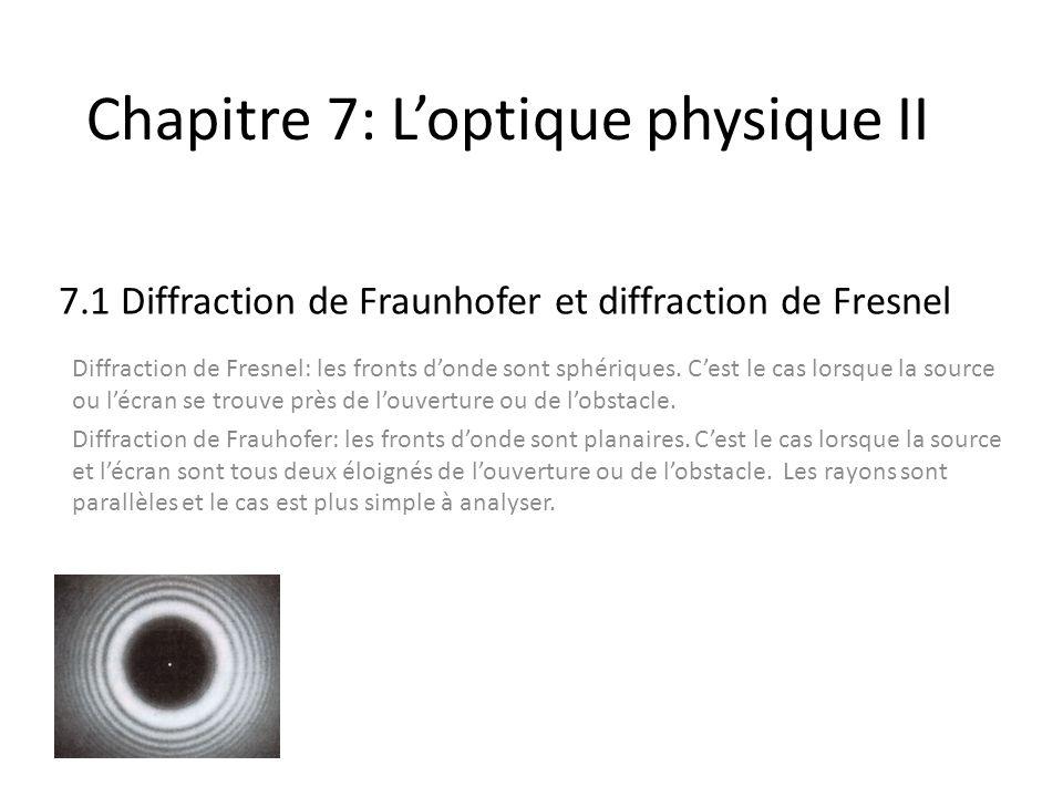 Chapitre 7: Loptique physique II 7.1 Diffraction de Fraunhofer et diffraction de Fresnel Diffraction de Fresnel: les fronts donde sont sphériques. Ces