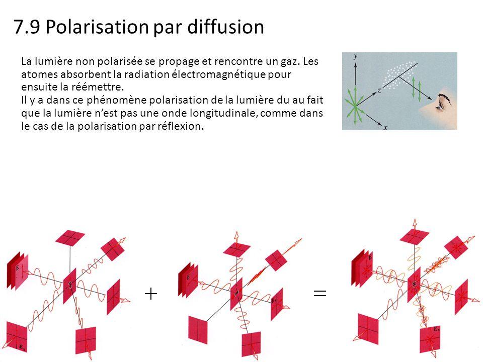 7.9 Polarisation par diffusion La lumière non polarisée se propage et rencontre un gaz. Les atomes absorbent la radiation électromagnétique pour ensui