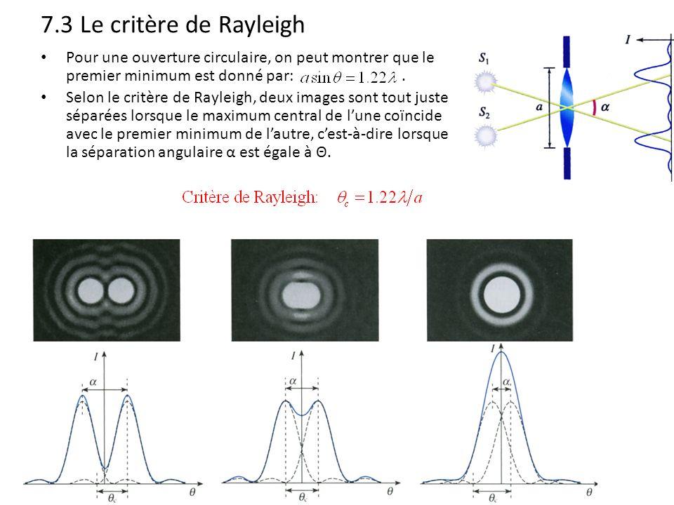 7.3 Le critère de Rayleigh Pour une ouverture circulaire, on peut montrer que le premier minimum est donné par:. Selon le critère de Rayleigh, deux im