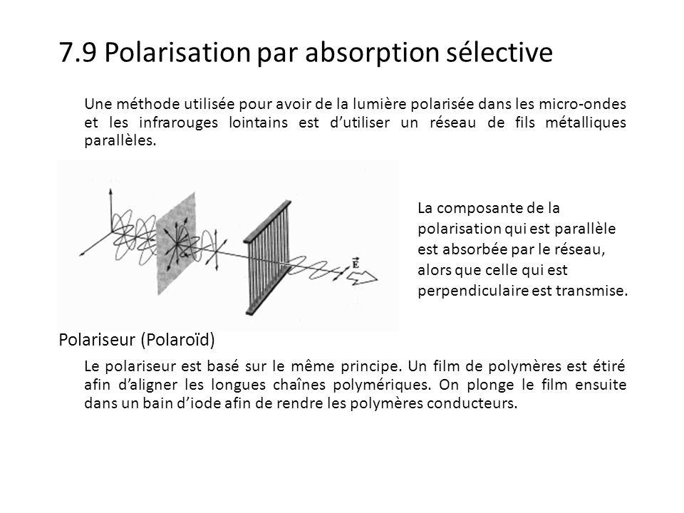 7.9 Polarisation par double réfraction La double réfraction ou biréfringence est lorsque lon observe deux rayons réfractés pour un seul rayon incident.
