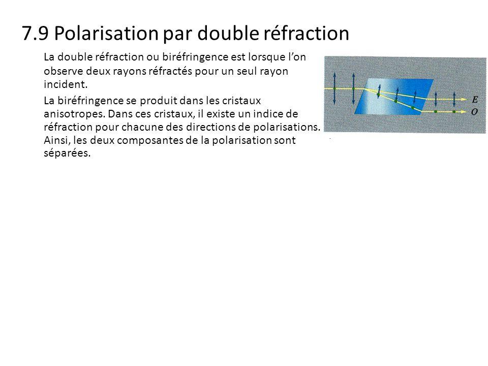 7.9 Polarisation par double réfraction La double réfraction ou biréfringence est lorsque lon observe deux rayons réfractés pour un seul rayon incident