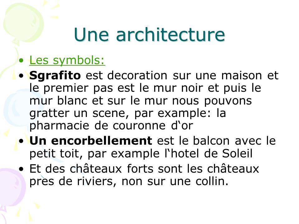 Une architecture Les symbols: Sgrafito est decoration sur une maison et le premier pas est le mur noir et puis le mur blanc et sur le mur nous pouvons