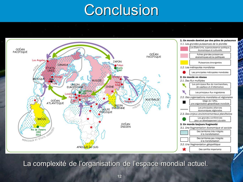 12 Conclusion La complexité de lorganisation de lespace mondial actuel.