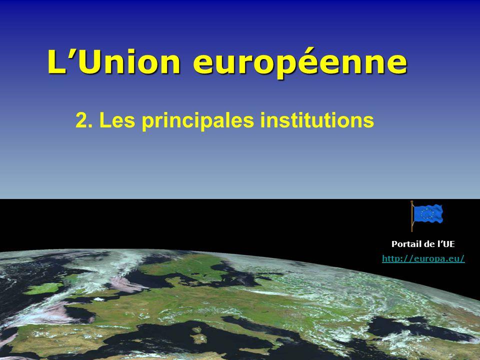 LUnion européenne 2. Les principales institutions Portail de lUE http://europa.eu/