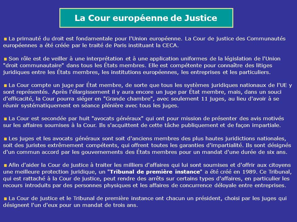 La Cour européenne de Justice La primauté du droit est fondamentale pour l'Union européenne. La Cour de justice des Communautés européennes a été créé