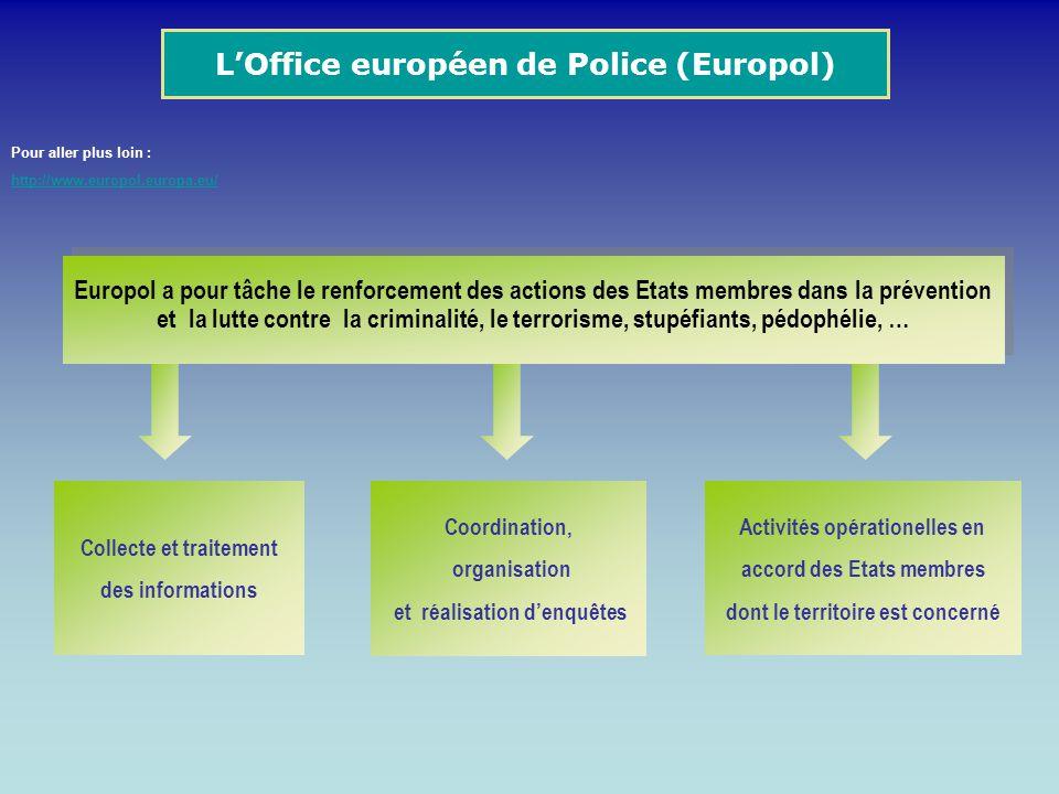 Europol a pour tâche le renforcement des actions des Etats membres dans la prévention et la lutte contre la criminalité, le terrorisme, stupéfiants, p