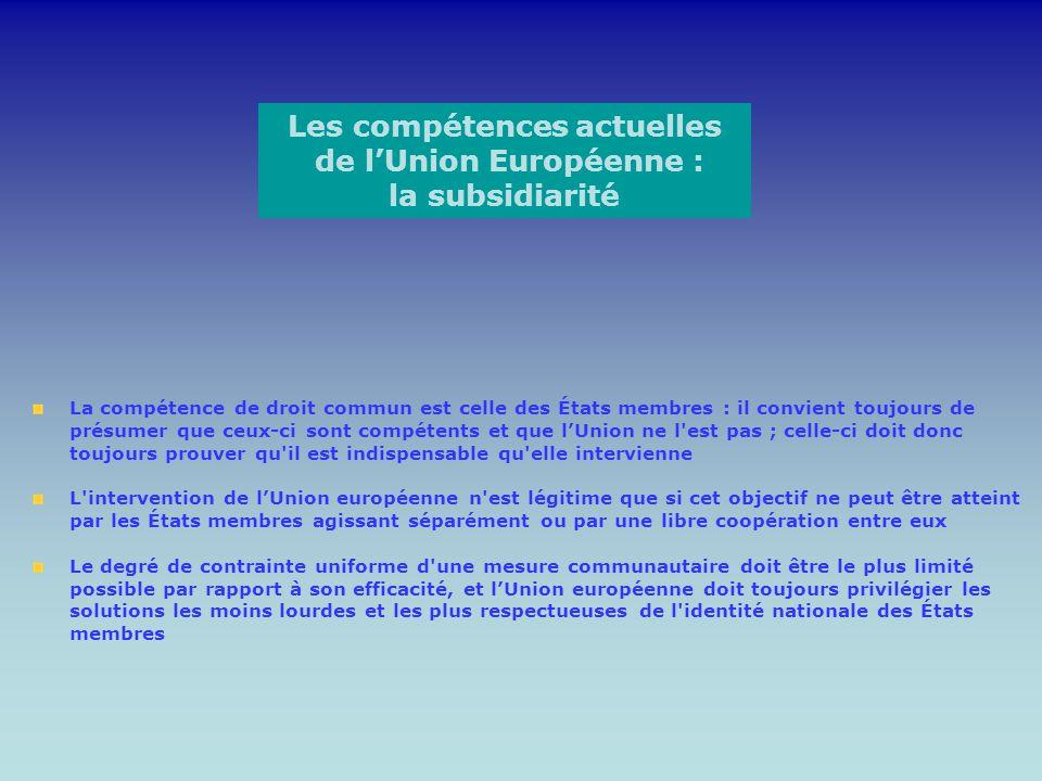 Les compétences actuelles de lUnion Européenne : la subsidiarité La compétence de droit commun est celle des États membres : il convient toujours de p