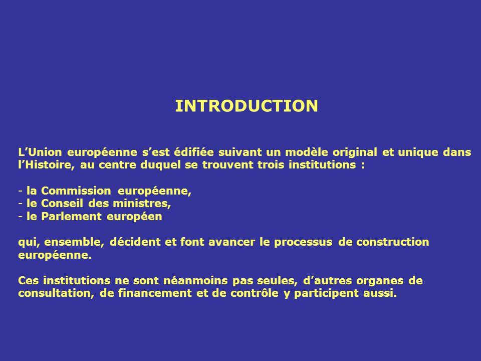 INTRODUCTION LUnion européenne sest édifiée suivant un modèle original et unique dans lHistoire, au centre duquel se trouvent trois institutions : - l