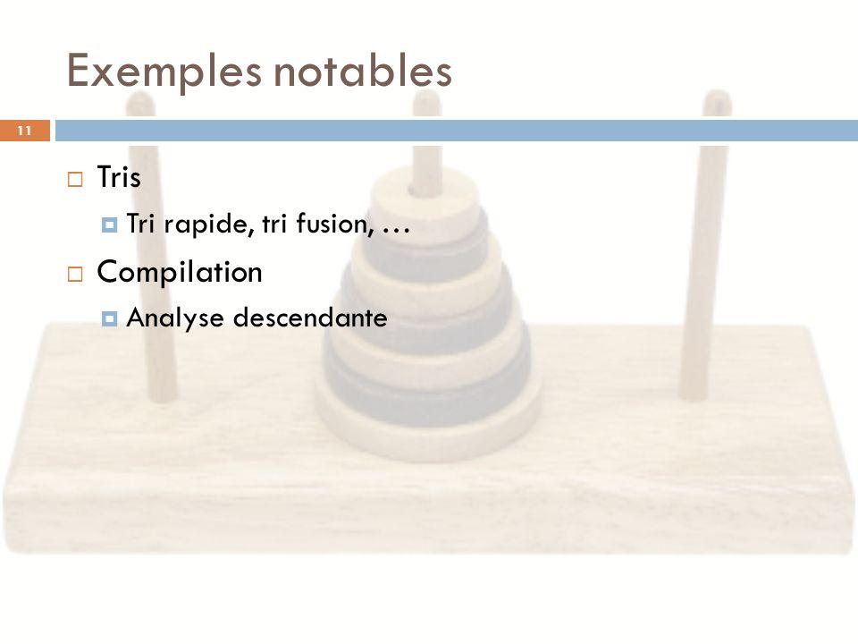 Exemples notables 11 Tris Tri rapide, tri fusion, … Compilation Analyse descendante