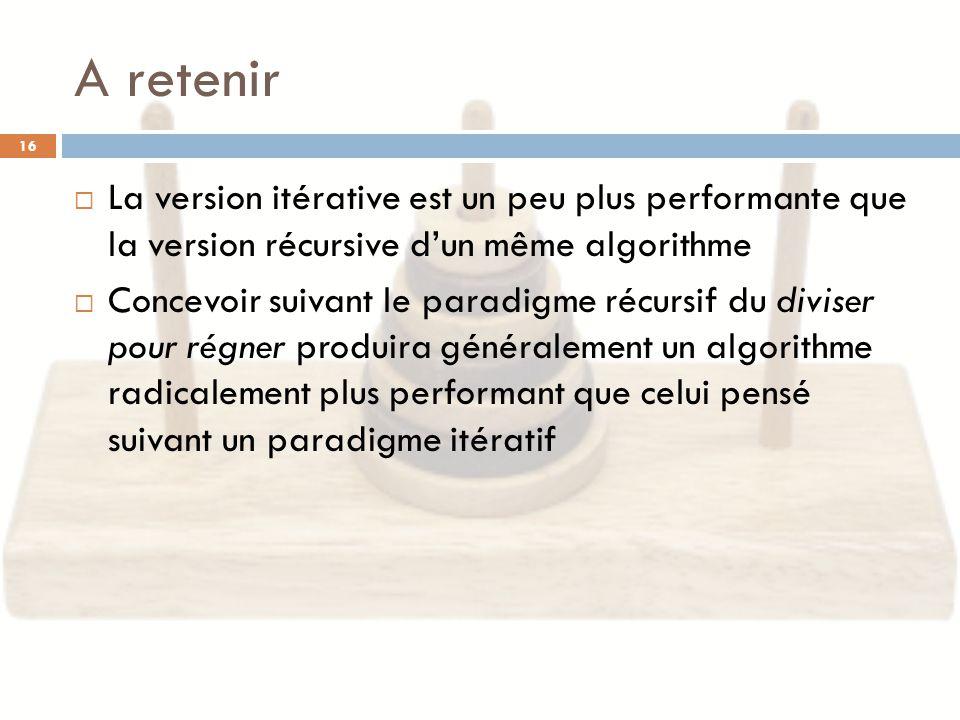 La version itérative est un peu plus performante que la version récursive dun même algorithme Concevoir suivant le paradigme récursif du diviser pour