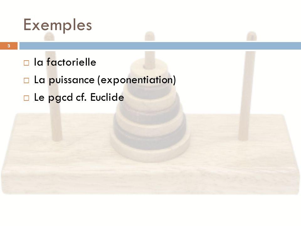 Exemples 3 la factorielle La puissance (exponentiation) Le pgcd cf. Euclide