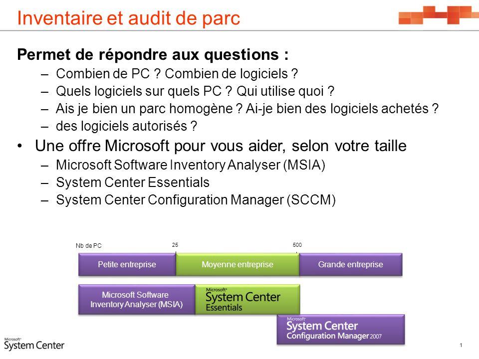 Inventaire et audit de parc Permet de répondre aux questions : –Combien de PC ? Combien de logiciels ? –Quels logiciels sur quels PC ? Qui utilise quo