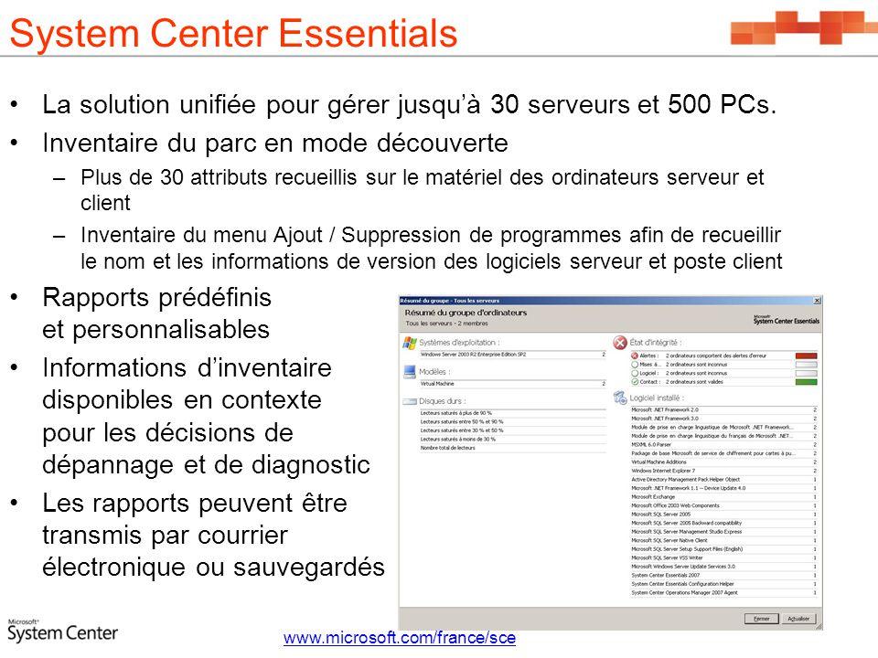 System Center Essentials La solution unifiée pour gérer jusquà 30 serveurs et 500 PCs. Inventaire du parc en mode découverte –Plus de 30 attributs rec