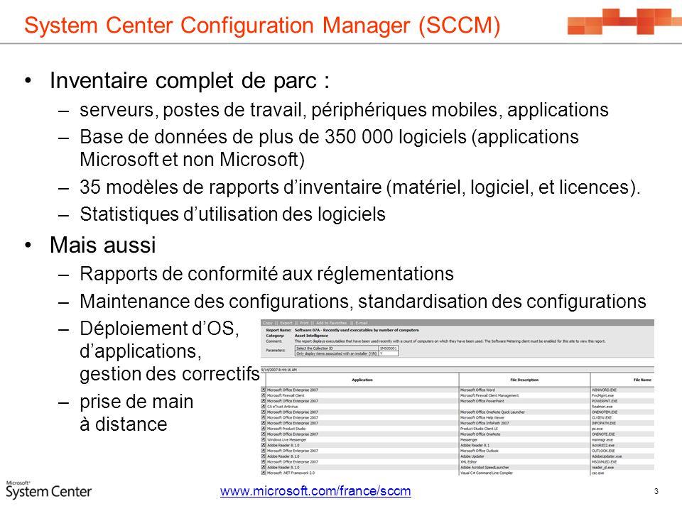 System Center Configuration Manager (SCCM) Inventaire complet de parc : –serveurs, postes de travail, périphériques mobiles, applications –Base de don