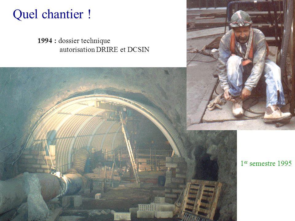 Quel chantier ! 1 er semestre 1995 1994 : dossier technique autorisation DRIRE et DCSIN