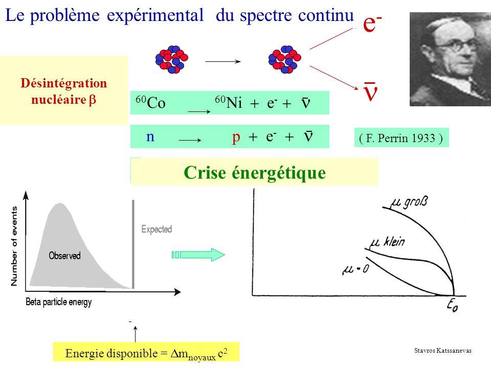 Désintégration nucléaire e-e- 60 Co 60 Ni e - n p e - ( F. Perrin 1933 ) Crise énergétique Energie disponible = m noyaux c 2 - Le problème expérimenta