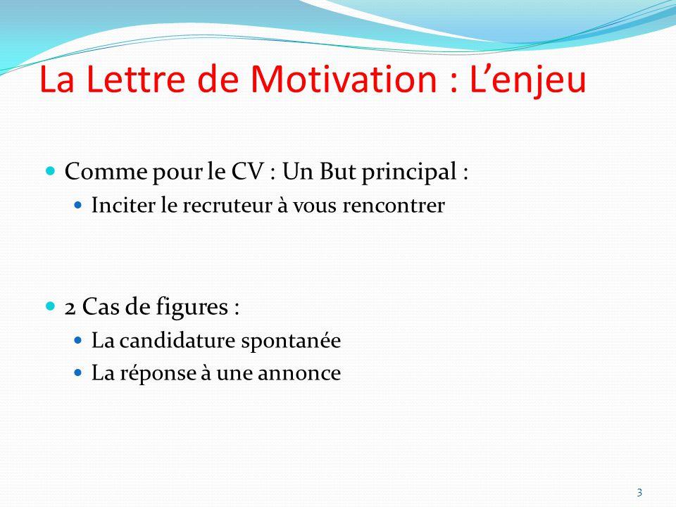 La Lettre de Motivation : Lenjeu Comme pour le CV : Un But principal : Inciter le recruteur à vous rencontrer 2 Cas de figures : La candidature spontanée La réponse à une annonce 3