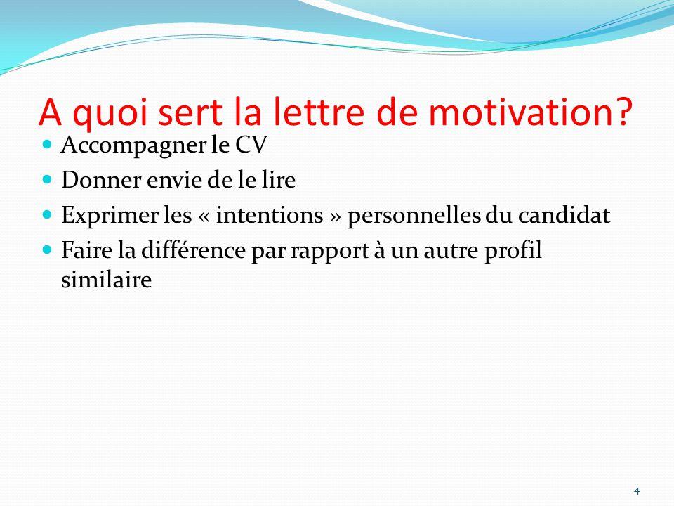 A quoi sert la lettre de motivation? Accompagner le CV Donner envie de le lire Exprimer les « intentions » personnelles du candidat Faire la différenc
