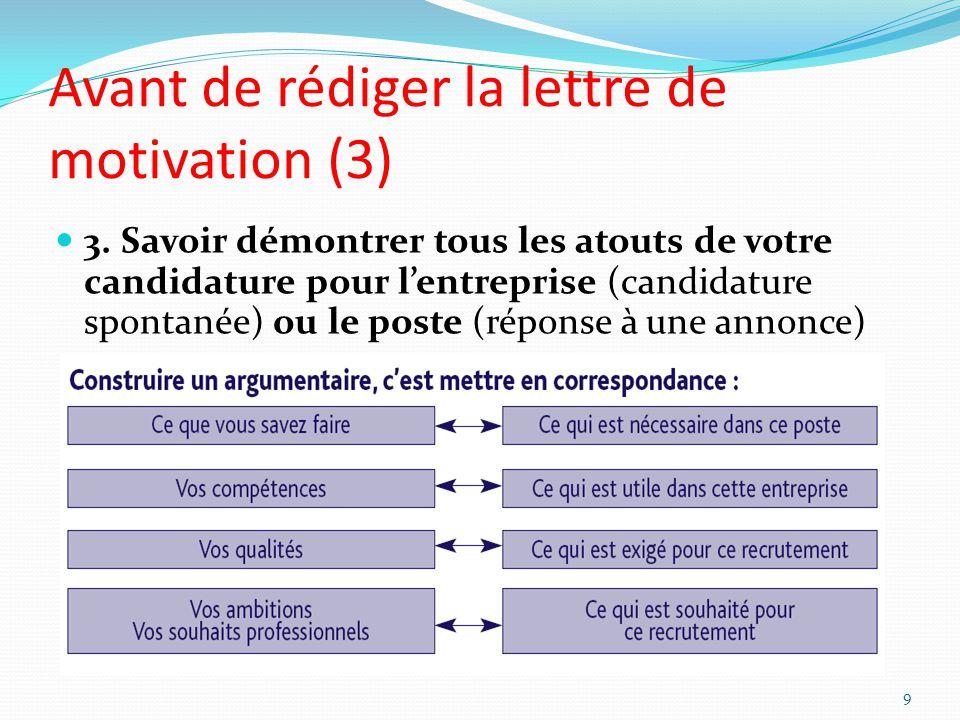 Avant de rédiger la lettre de motivation (3) 3. Savoir démontrer tous les atouts de votre candidature pour lentreprise (candidature spontanée) ou le p