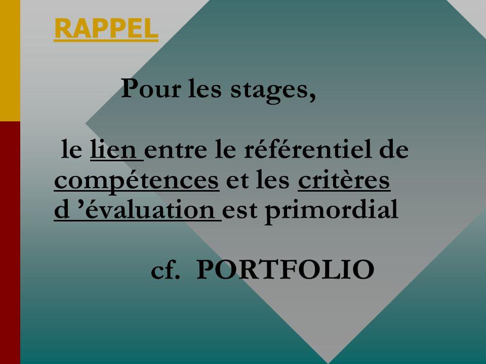 RAPPEL Pour les stages, le lien entre le référentiel de compétences et les critères d évaluation est primordial cf.