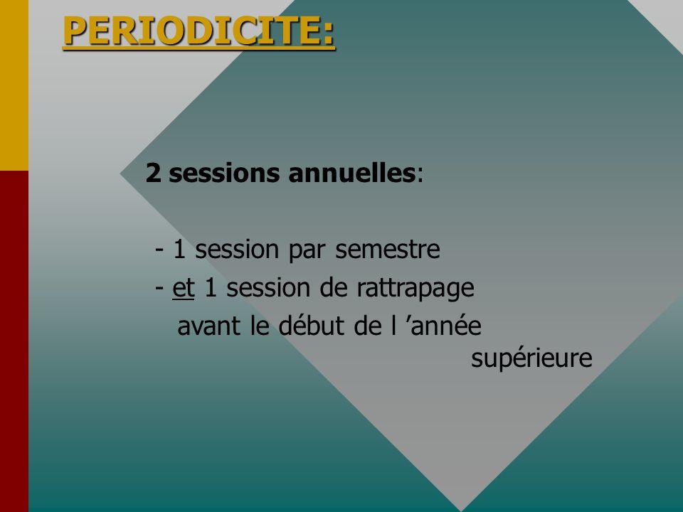 PERIODICITE: PERIODICITE: 2 sessions annuelles: - 1 session par semestre - et 1 session de rattrapage avant le début de l année supérieure