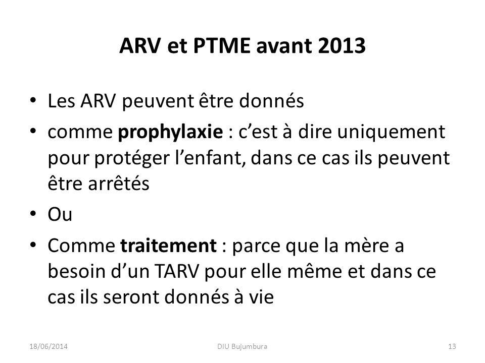 ARV et PTME avant 2013 Les ARV peuvent être donnés comme prophylaxie : cest à dire uniquement pour protéger lenfant, dans ce cas ils peuvent être arrê