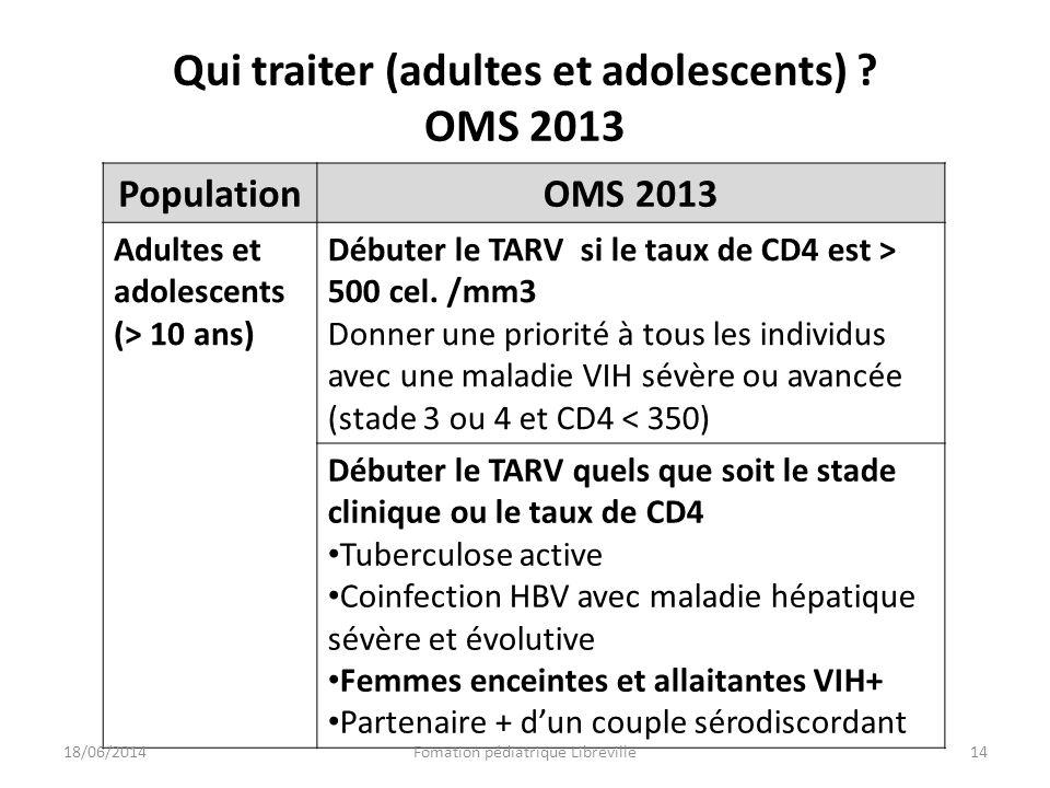 Qui traiter (adultes et adolescents) ? OMS 2013 PopulationOMS 2013 Adultes et adolescents (> 10 ans) Débuter le TARV si le taux de CD4 est > 500 cel.