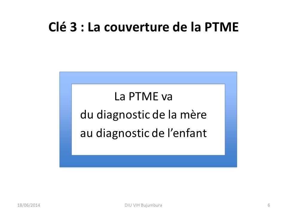 Clé 3 : La couverture de la PTME La PTME va du diagnostic de la mère au diagnostic de lenfant 18/06/2014DIU VIH Bujumbura6