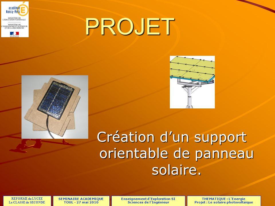 SEMINAIRE ACADEMIQUE TOUL - 27 mai 2010 REFORME du LYCEE La CLASSE de SECONDE Enseignement dExploration SI Sciences de lIngénieur THEMATIQUE : LEnergie Projet : Le solaire photovoltaïque Le support manuel Exemple de réalisation :